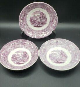 "lot of 3 Thomas W. Barlow ""Medina"" Puce Purple Transferware Dishes 6"" 1857-82"
