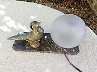 Ancienne lampe de chevet faisan/grand tétras art-déco-veilleuse boule blanche