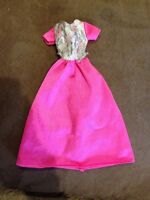 Pink Barbie Doll Dress With Silver On Top Pink Genuine Barbie Label