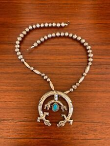 Large NAVAJO YEI NAJA Turquoise Sterling Silver BEAD PENDANT Necklace