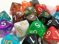 (100) Wiz Dice D10 Random Color Polyhedral Dice Set, 10 Sided Lot Game D&D RPG