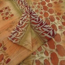 Vintage Indian Cotton Organza Saree Floral Printed Fabric Peach Art Decor Sari