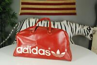Vintage 70s Adidas Trefoil Gym Workout Duffle Bag THICK Leather Yugoslavia Red