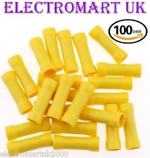100 YELLOW BUTT INSULATED WIRE CABLE ELECTRICAL CRIMP TERMINAL JOINERS