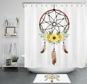 Dreamcatcher Bohemia Style Sunflower Flower Waterproof Fabric Shower Curtain Set