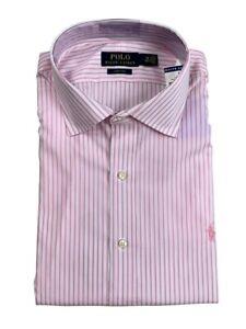 Ralph Lauren Polo Mens Easy Care Spread Collar Dress Shirt Pink/White New