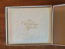 "Vintage Hallmark White Wedding Guest Book 7.5 x 8.5"" Embossed Flowers New in Box"