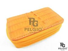 PELGIO Genuine Crocodile Skin Leather Key Holder Wallet Zip Coins Purse Orange