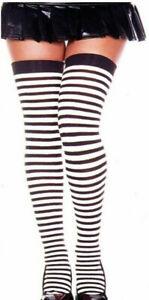 Music Legs Stockings Stripe Thigh High Plus Sz Queen Black or Red & White 4741 Q