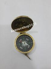 Antique pocket size maritime brass polish ship vintage old flap pocket compass