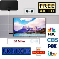 Indoor Digital TV Antenna Aerial Signal Amplified Thin HDTV HD Freeview 50 Mile