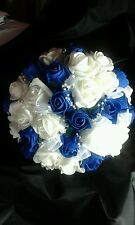 BRIDAL BOUQUET ROYAL BLUE & WHITE LOOPED BEADING RIBBON