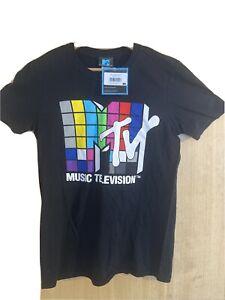 ***MTV*** Black T Shirt - USA - TV T Shirt Tee - Music - Small- Hipster