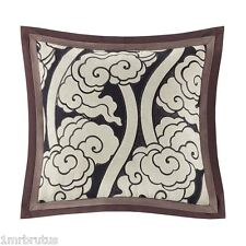 Artology Makie Square Decorative Toss Pillow Brown Ivory Asian Floral Embroidery