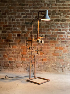 Industrial Steampunk Light Stand Floor Lamp Vintage Copper Piping & Gauges