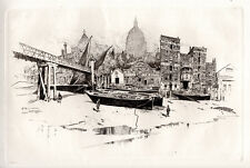"""JOSEPH PENNELL Original 1800s Etching """"St Paul's from Paul's Wharf"""" SIGNED COA"""
