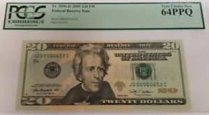 2009 20$ FEDERAL RESERVE NOTE PCGS 64PPQ VERY CHICE NEW BILL SERIAL No.652