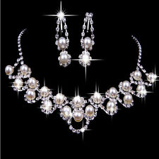Bridal Wedding Jewelry Set Rhinestone Diamante Pearl Crystal Necklace Earrings