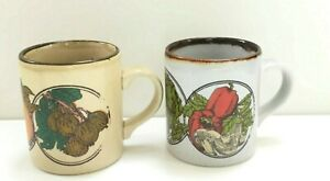 Set Of 2 Vintage 1980s Kiln Craft Coffee Mugs Retro Patterns