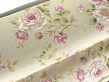 Vorhangstoff Bezugsstoff Stoff Baumwolle Mix Rosen beige Leinen Op. rosa  9204