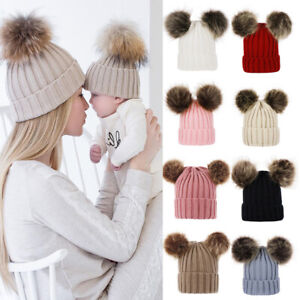 Toddler Baby Mother Knit Hat Winter Warm Beanie Cap Double Pom Faux Fur Hat Xmas