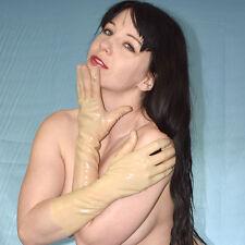 dicke LATEX HANDSCHUHE* Gummi rubber gloves haut* transparent Klinik Armstulpen