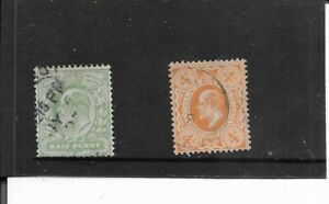 GREAT BRITAIN 1904-1910. KING EDWARD V11.  HALF & 4 P. FINE USED. AS PER SCAN