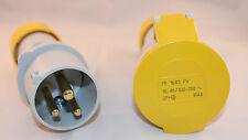 16 amp 3 Pin Plug & Socket IP44 110 volt 16A Ilme (2P +E)