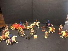 Vintage MPC hard Plastic Ring Hand Figures Western pioneer Wagon Cowboy Horses