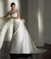 Pronovias Embrujo Wedding Dress size 12 by Pronovias Ivory silk Dupion