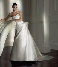 Vestido de boda Pronovias embrujo tamaño 12 por Pronovias Marfil Seda DUPIÓN