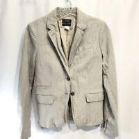 J. Crew Women's Blazer Schoolboy Jacket 2 Button Gray Herringbone Sz 6 Slouchy