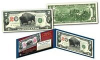 Bison Buffalo / Lewis & Clark 1901 $10 Banknote on Modern Genuine $2 U.S. Bill