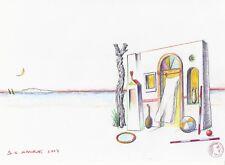 "Dimitris C. Milionis ""GREEK AEGEAN I"" Signed Pencil Study Drawing 2007 Greek"