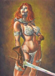 Red Sonja Painting - 2007 Signed art by Michael Miles