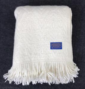 Vintage Pendleton Wool Throw Blanket White Cream Chevron Diamond Knit 67 x 59