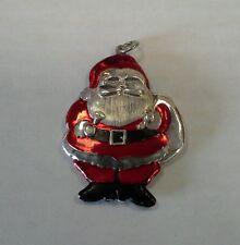 Vintage Sterling Silver Enamel Santa Claus Pendant Charm Ornament