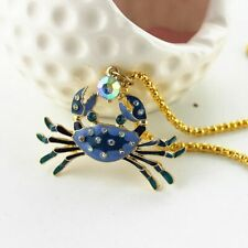 Pendant Necklace Charm Chain Crab Steel Cross Betsey Sea Jewelry Crystal Zodiac