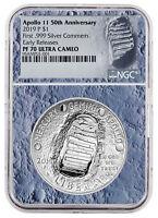 2019 Apollo 11 50th Commem Silver Dollar NGC PF70 ER Moon Core SKU56543