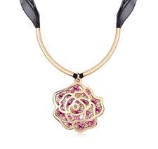 18K Gold GP Swarovski Element Crystal Large Rose Pendant Necklace Pink