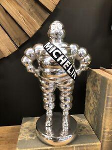 Michelin Man polished Polished aluminium Michelin man mascot Blue Sash