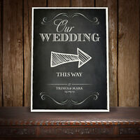 PERSONALISED DIRECTION RIGHT ARROW WEDDING SIGN VINTAGE CHALKBOARD - A
