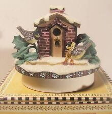 Debbie Mumm Candle Topper Winter Birds #8006 New in Box Birdhouse Holly Snow