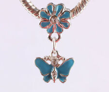 2pcs silver butterfly pendant daisy painted European charm bead bracelet #A637
