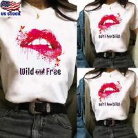 Women Red Lips Print Short Sleeve T shirt Crew Neck Summer Casual Blouse Top Tee