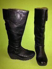 Black Fly London Knee-High Wedge Heel Boots 6.5 37