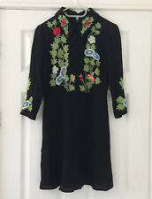 TOPSHOP collar pretty skater fit flare UK8 embroidered black floral peter pan