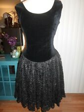 Kiz Collection Black Velveteen Lace Cocktail Prom Dress 10