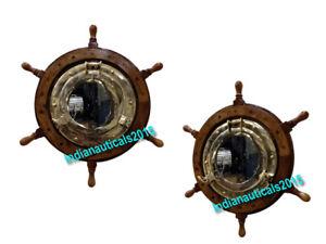 Brass porthole wall mirror shabby vintage Style Ship Wheel bathroom home Decor