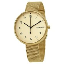 SKAGEN SIGNATUR GOLD DIAL GOLD-TONE MESH ST. STEEL LADIES WATCH SKW2625 NEW